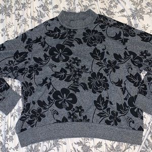Alfred Dunner Grey and black floral sweater